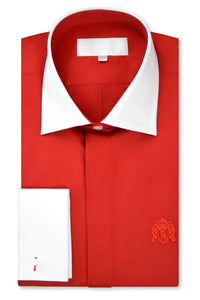 Candy Red Cutaway Collar Shirt with Matching Tie