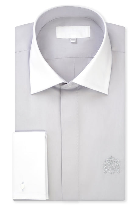 Grey Contrasting Cutaway Collar Shirt