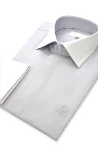 Putty Grey Contrasting Cutaway Collar Shirt with Matching Tie