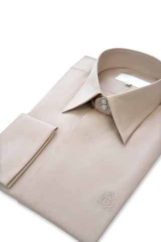 Sand Forward Point Collar Shirt with Matching Tie