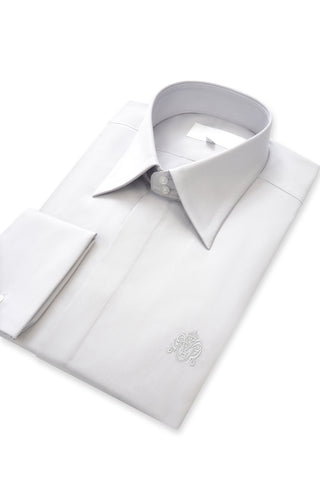 Putty Grey Forward Point Collar Shirt with Matching Tie