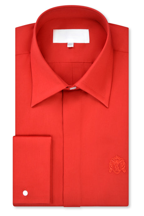Candy Red Forward Point Collar Shirt with Matching Tie