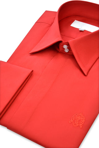 Red Forward Point Collar Shirt