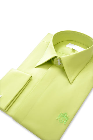 Lime Green Forward Point Collar Shirt with Matching Tie