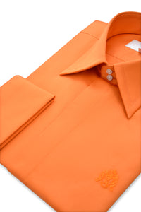 Tangerine Orange Forward Point Collar Shirt Side
