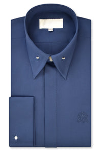 Oxford Blue Exaggerated Point Pin Collar Shirt with Matching Tie