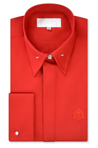 Candy Red Exaggerated Point Pin Collar Shirt with Matching Tie