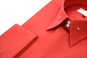 Red Point Pin Collar Shirt Close