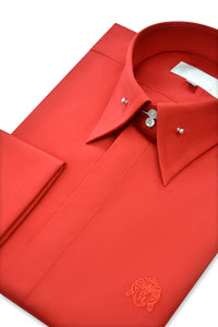 Candy Red Exaggerated Point Pin Collar Shirt