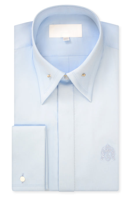 Duck Egg Blue Exaggerated Point Pin Collar Shirt with Matching Tie