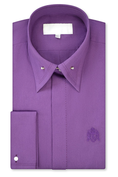 Mauve Purple Exaggerated Point Pin Collar Shirt with Matching Tie