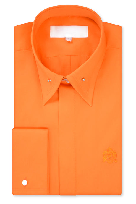 Tangerine Orange Exaggerated Point Pin Collar Shirt