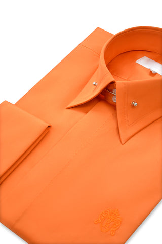 Tangerine Orange Exaggerated Point Pin Collar Shirt with Matching Tie