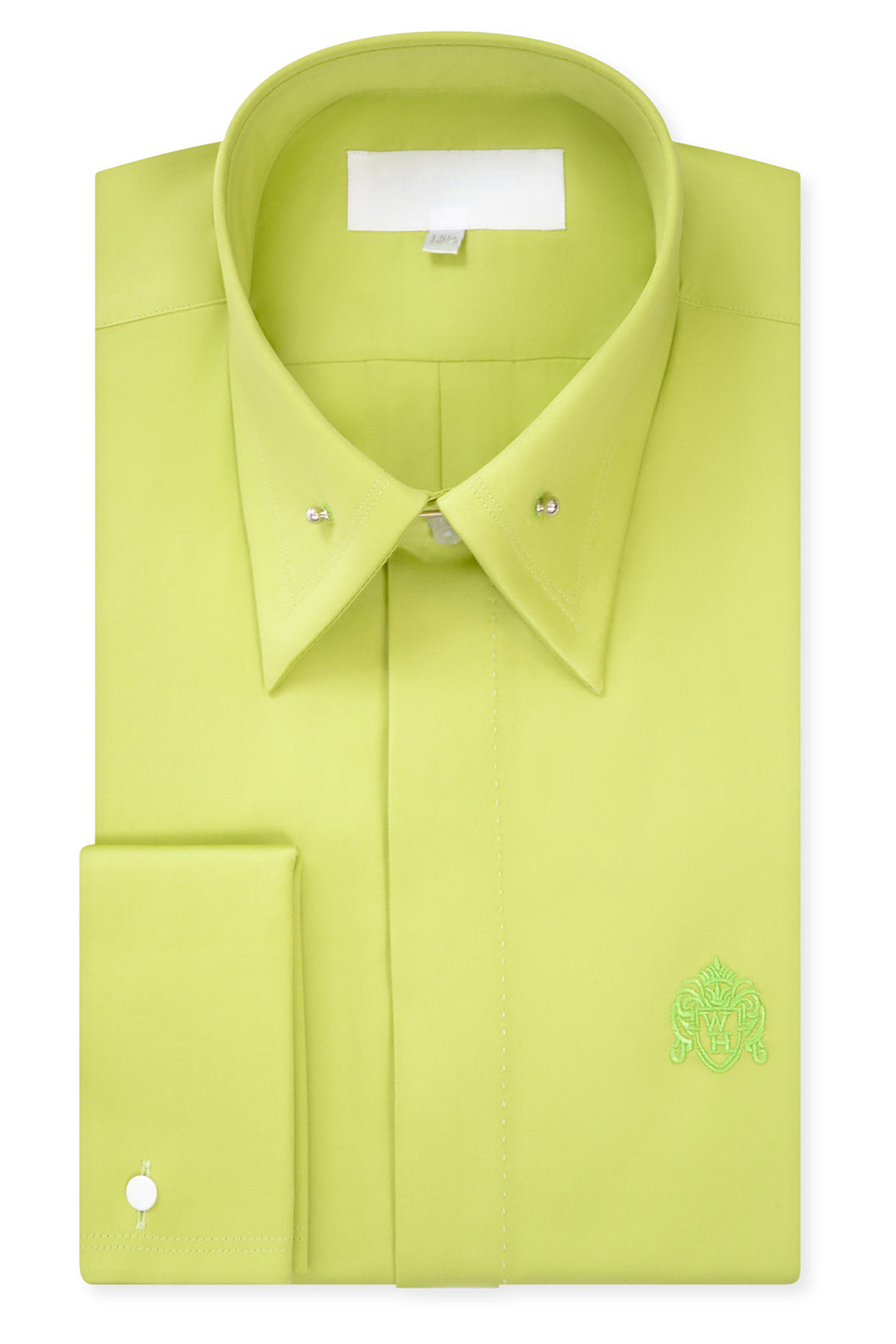Lime Green Exaggerated Point Pin Collar Shirt with Matching Tie