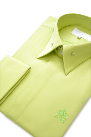 Lime Green Exaggerated Point Pin Collar Shirt