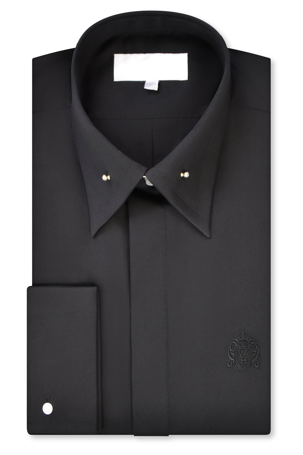 Black Point Pin Collar Shirt with Matching Tie