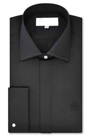 Black Classic Cutaway Collar Shirt with matching tie