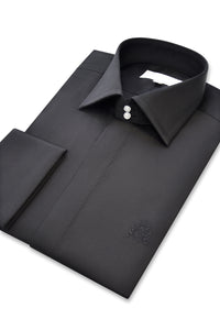 Black Cutaway Collar Shirt side