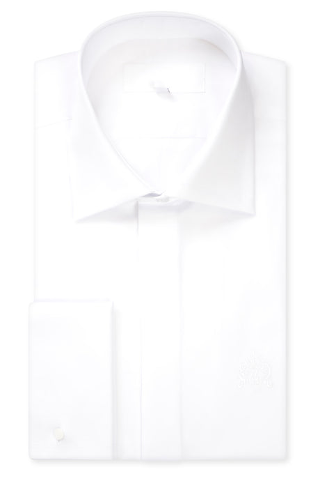 Classic White Cutaway Collar Shirt with Matching Tie