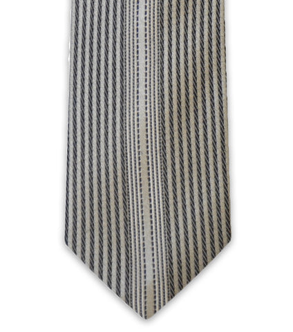 Light Grey Vertical Stripe Silk Tie - William Hunt Savile Row  - 1