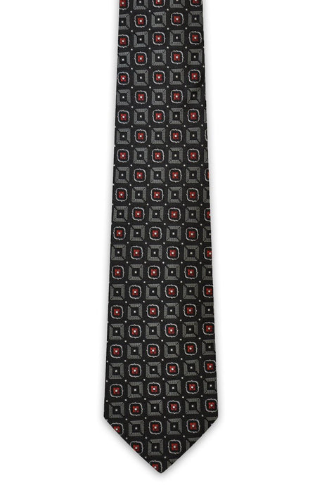 Black / Red Square Silk Tie - William Hunt Savile Row  - 1
