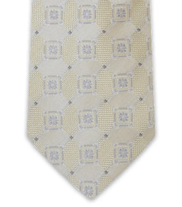 Gold Cream Square Silk Tie - William Hunt Savile Row  - 2