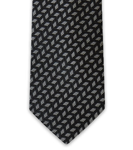 Charcoal Geometric Silk Tie - William Hunt Savile Row  - 1