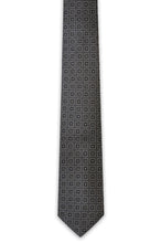 Charcoal Square Design Silk Tie - William Hunt Savile Row  - 1
