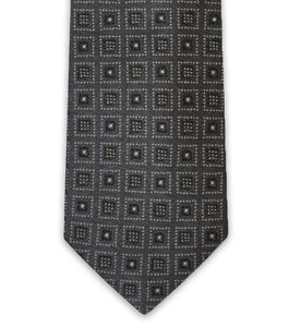 Charcoal Square Design Silk Tie - William Hunt Savile Row  - 2