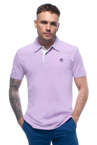 Thistle Lilac Piqué Polo Top with White Contrasting Insert