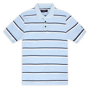 Sky Blue with Black and White Thin Stripe Piqué Polo Top