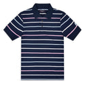 Navy with Pink, Sky and White Thin Stripe Piqué Polo Top