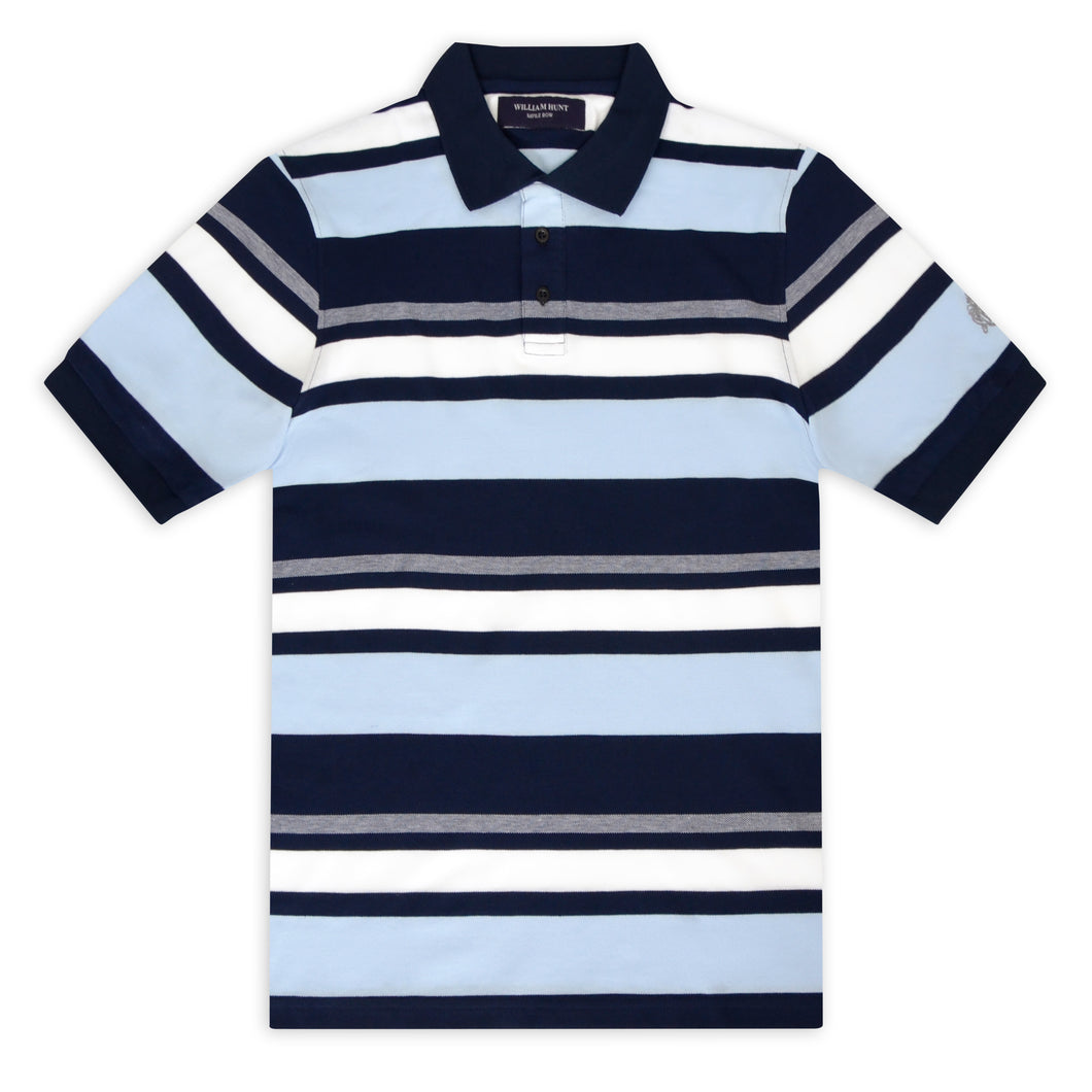 Navy, White, Sky and Grey Stripe Piqué Polo Top