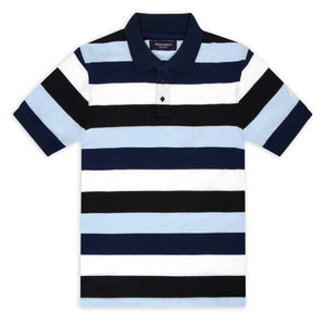 Black, Sky, Navy and White Block Stripe Piqué Polo Top