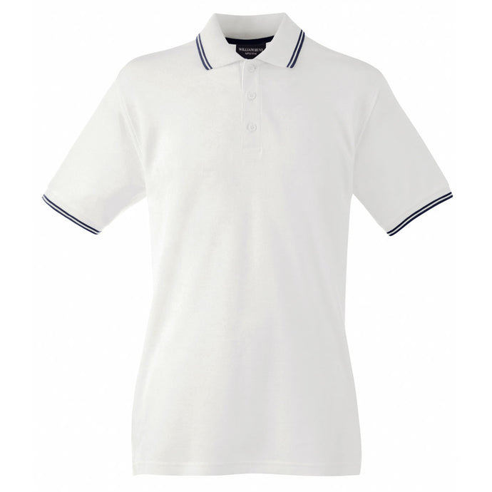 White Piqué Polo Top with Navy Tipped Collar