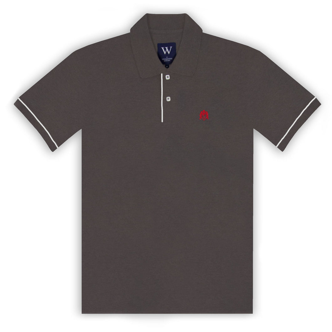 Charcoal Polo with White Piped Cuff