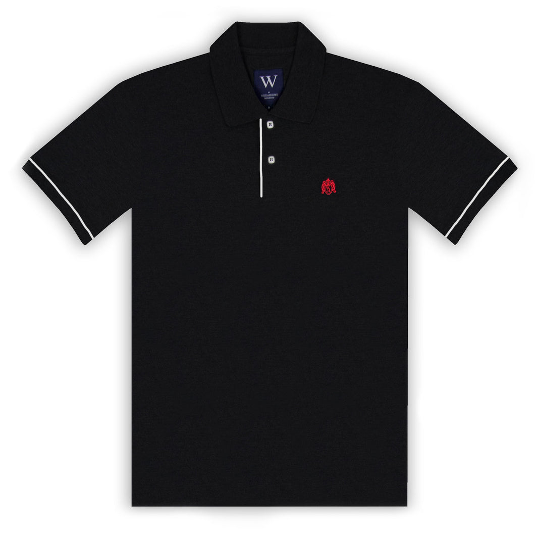 Black Polo with White Piped Cuff