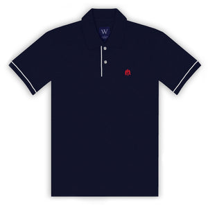 Navy Polo with White Piped Cuff