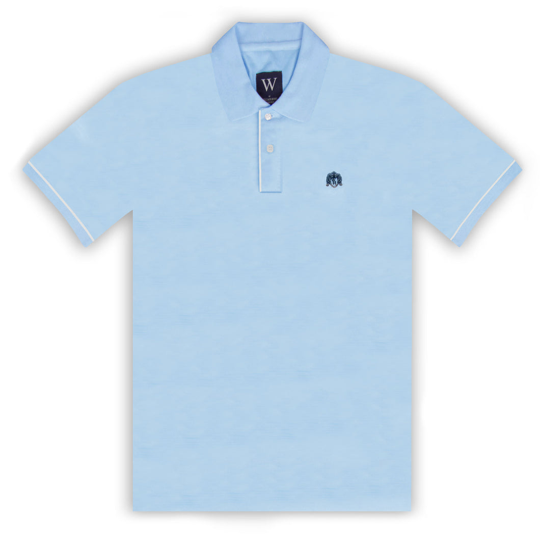 Sky Polo with White Piped Cuff