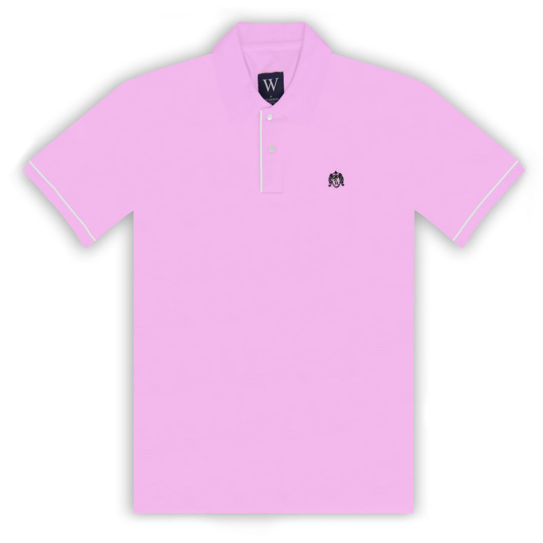 Pink Polo with White Piped Cuff