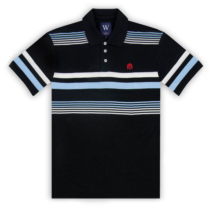 Black with Ecru & Sky Stripe Polo