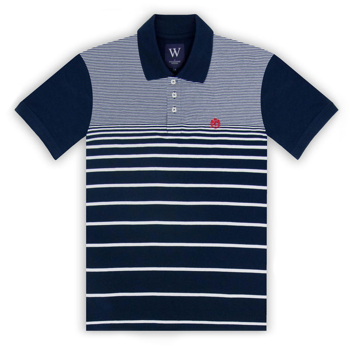 Navy with White Stripe Polo