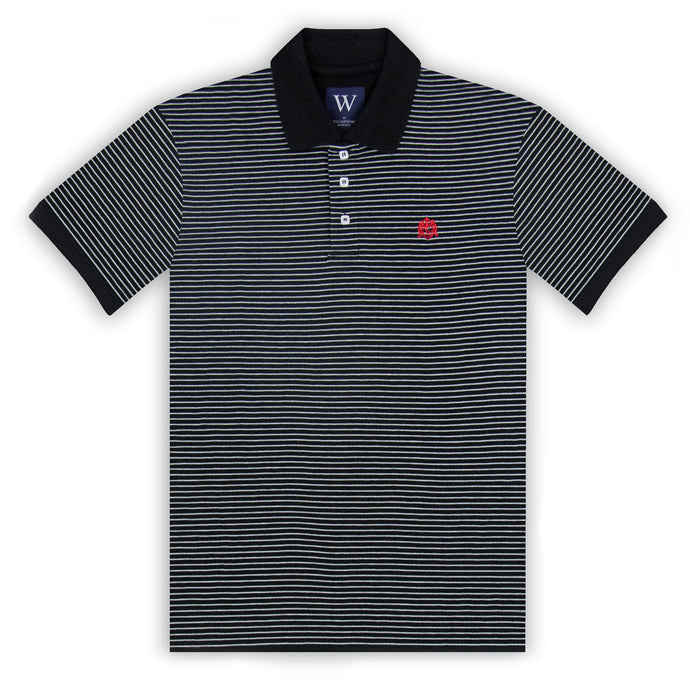 Black with Grey Marl Stripe Polo