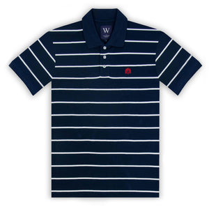 Navy with Thin White Stripe Polo