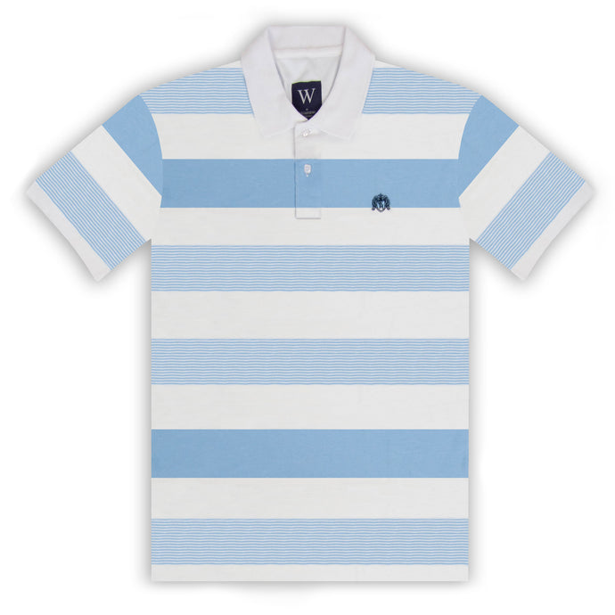 White with Sky Stripe Polo