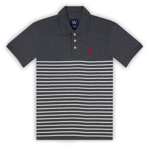 Charcoal with Ecru Stripe Polo