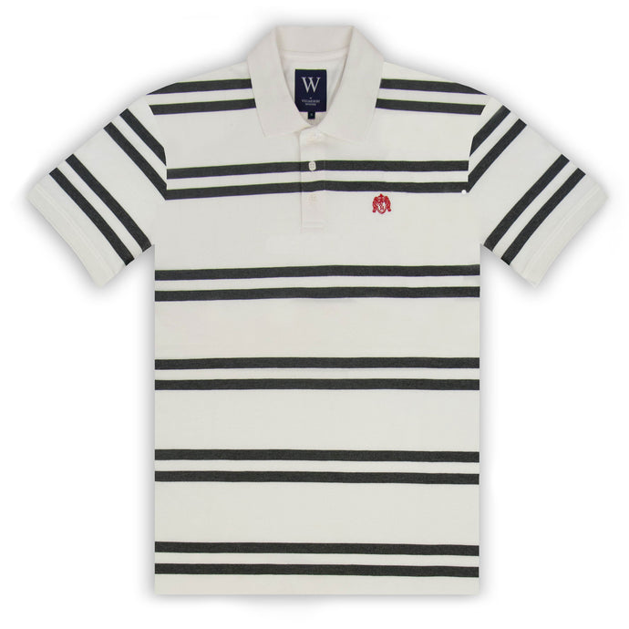 Ecru with Charcoal Stripe Polo
