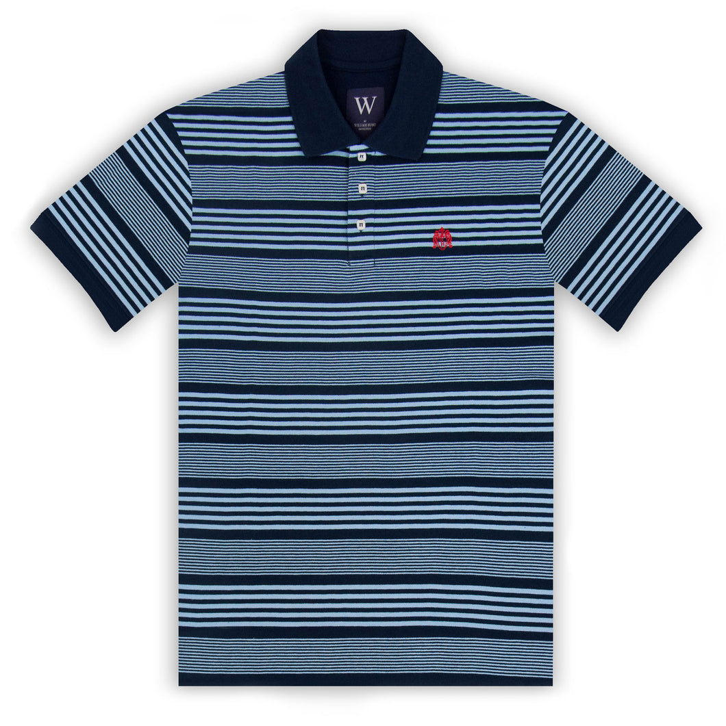 Navy with Sky Stripe Polo