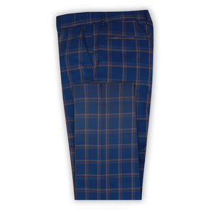 Navy with Chocolate Check Trouser