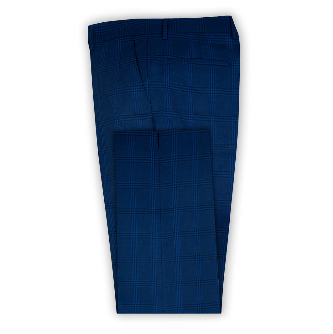 Blue with Black Check Trouser